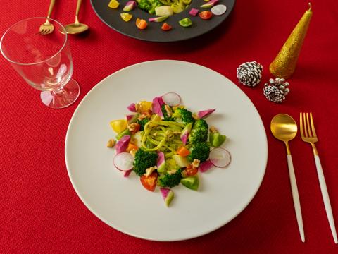 ジェノベーゼの彩りパスタサラダ